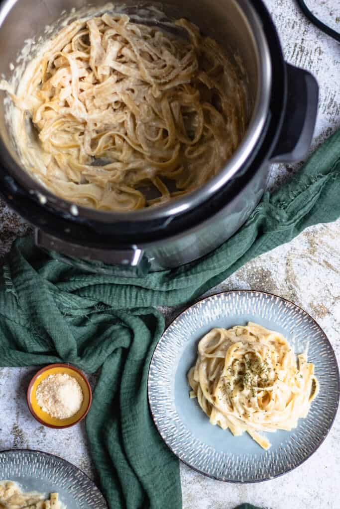 Plate of instant pot fettuccine with instant pot