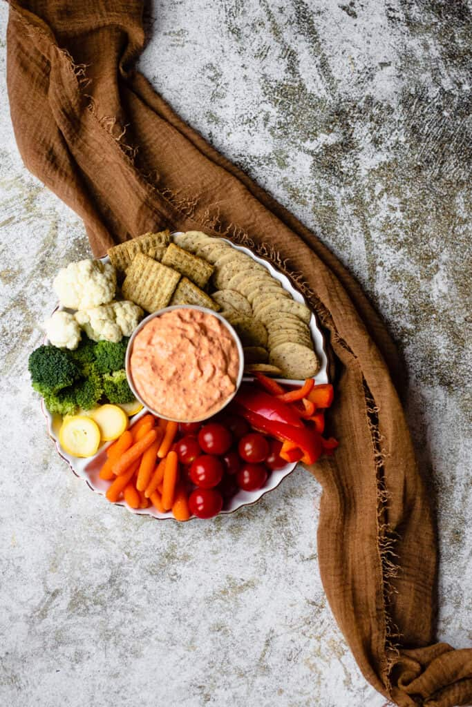 Roasted red pepper dip with serving platter