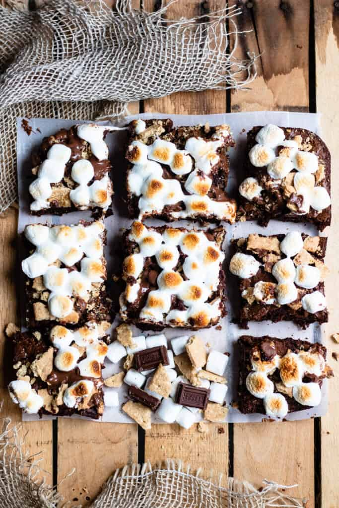 Full spread of 9 smores brownies