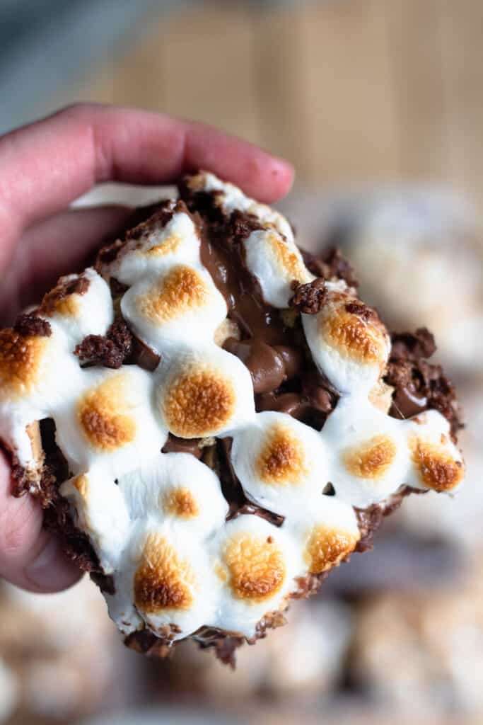 hand holding smores brownies