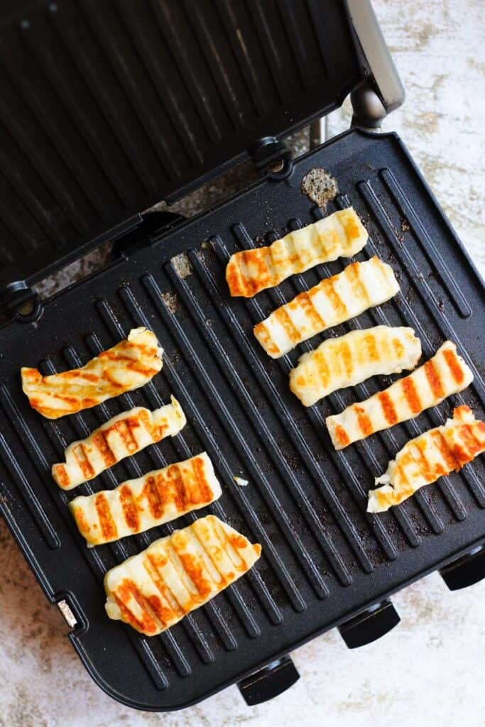 grilled halloumi on a tabletop grill