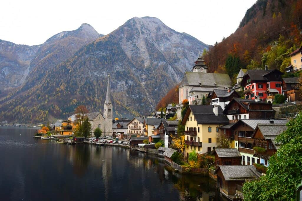 Village in Austria on the side of a lake