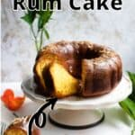 Rum Cake Pinterest Image top outlined title