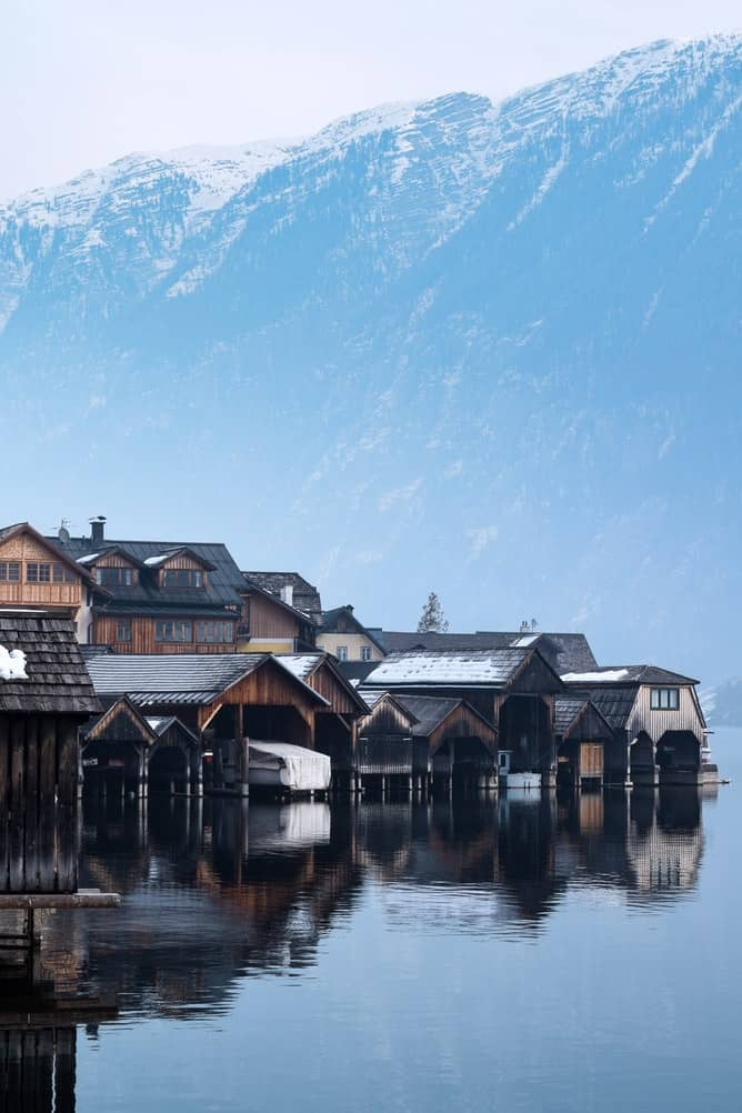 Hallstatt in Austria on a lake and a mountainside