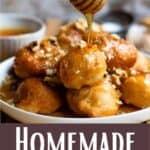 Homemade Loukoumades Pinterest Image bottom design banner
