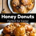 Easter Honey Donuts Pinterest Image middle black banner