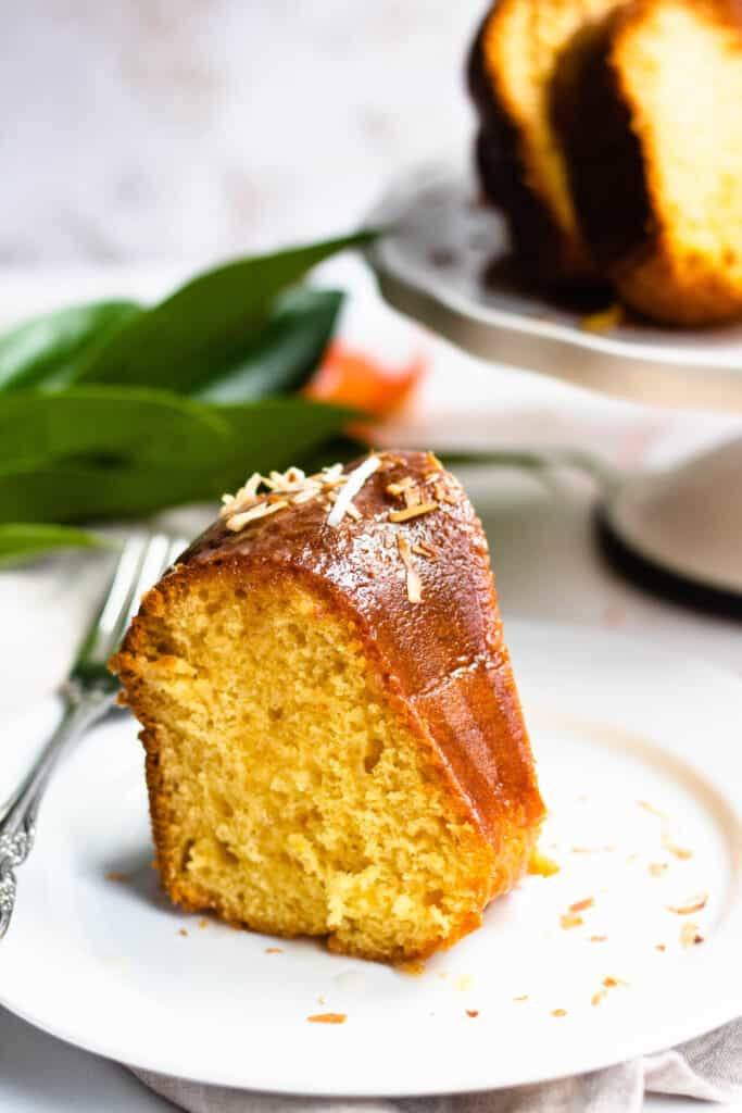 slice of rum cake recipe with rum-sugar topping and toasted coconut