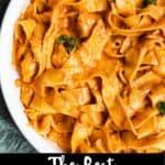 The Best Vodka Sauce Recipe Pinterest Image Bottom black banner