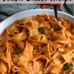 The Best Vodka Sauce Recipe Pinterest Image top striped banner