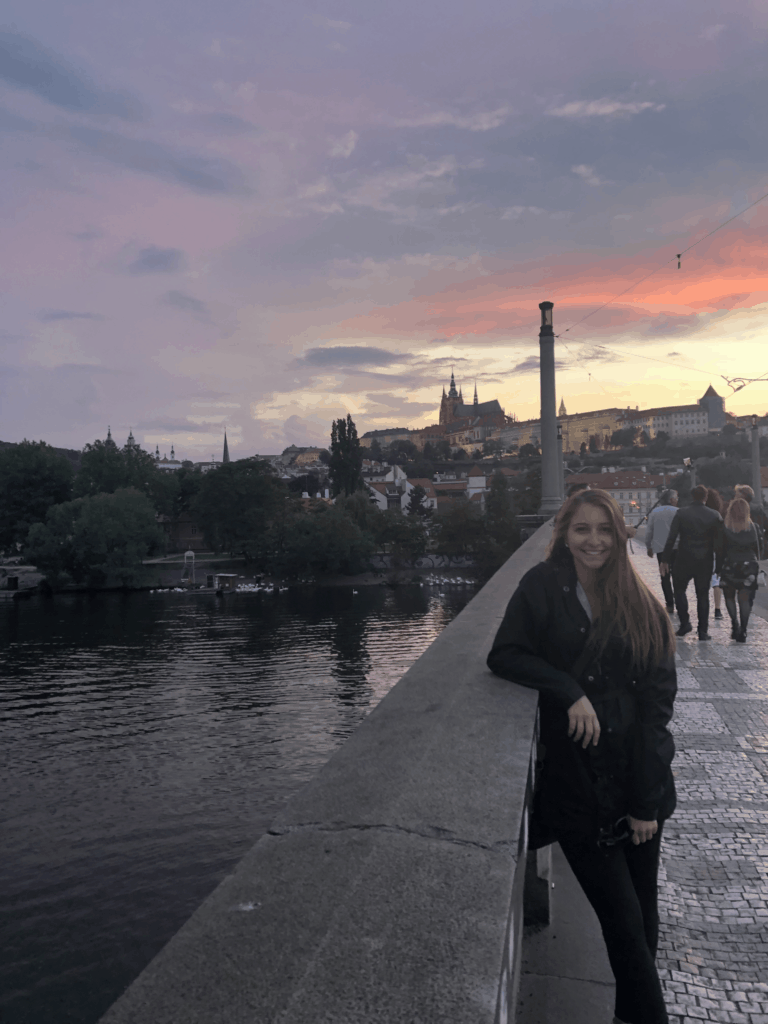 Alexandria in front of a beautiful sunset in Prague