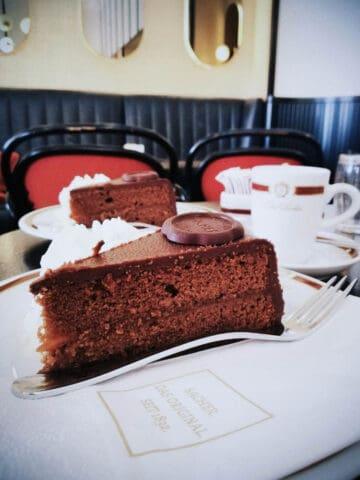 Austrian food: Slice of Sacher torte cake