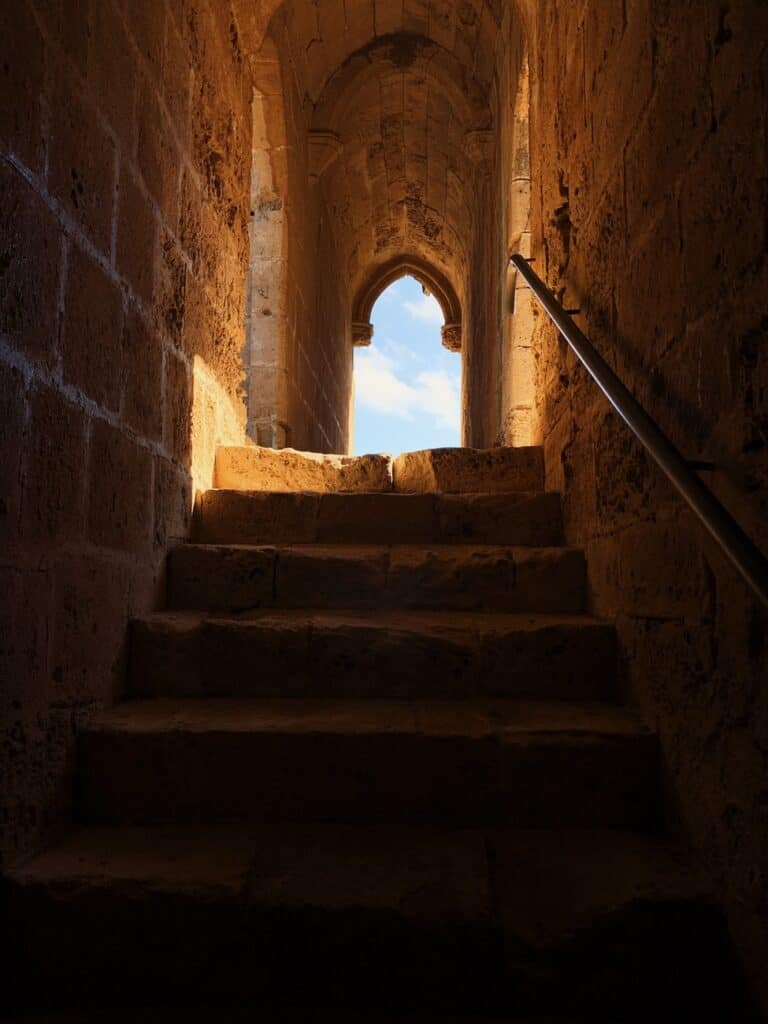 stone stairway leading to a view of the sky
