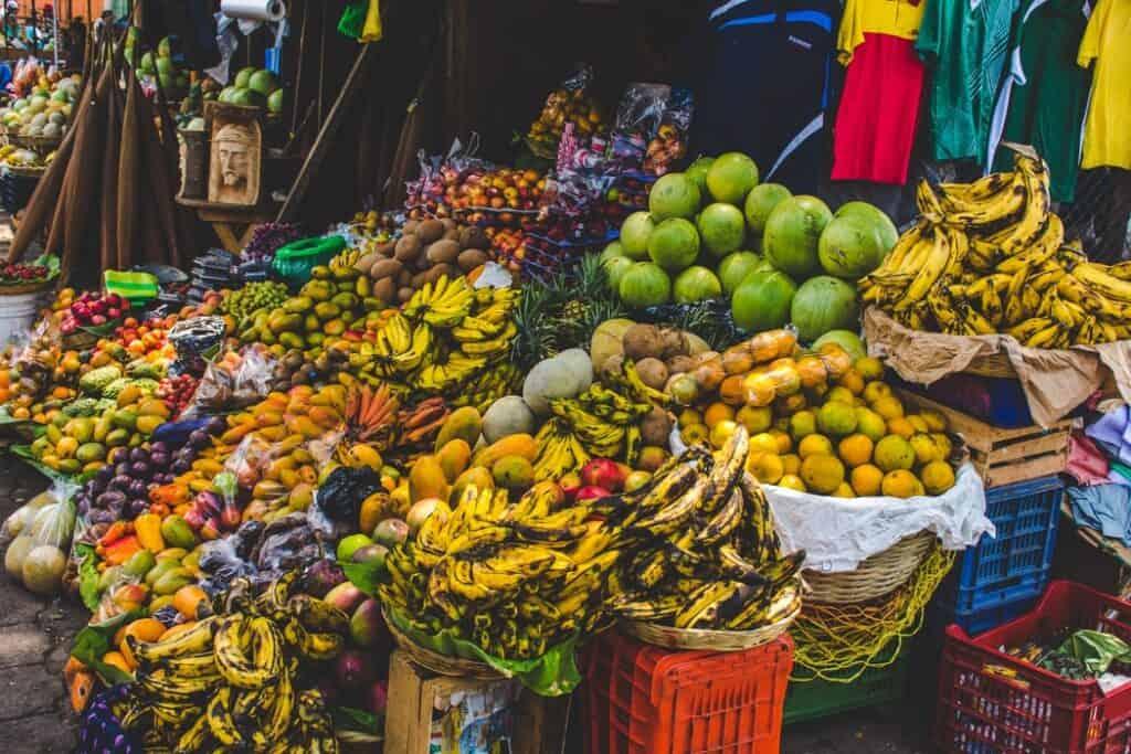 Baskets fo fruit at a Guatemalan Food market