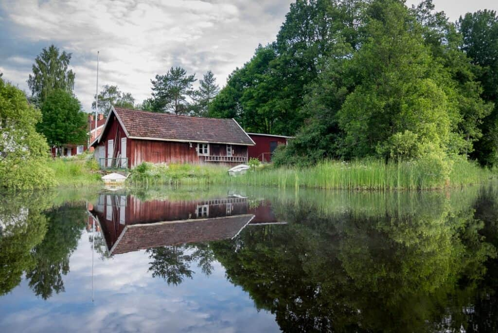Red barn on the Swedish Countryside