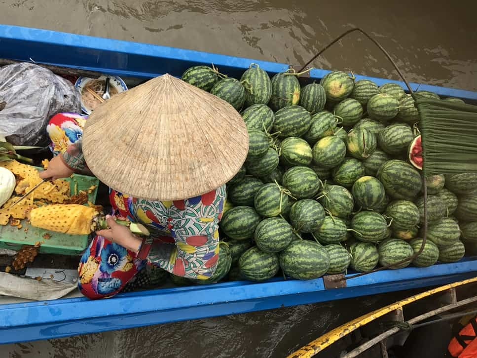Vietnamese food vendor of fruit with watermelons and other fruits