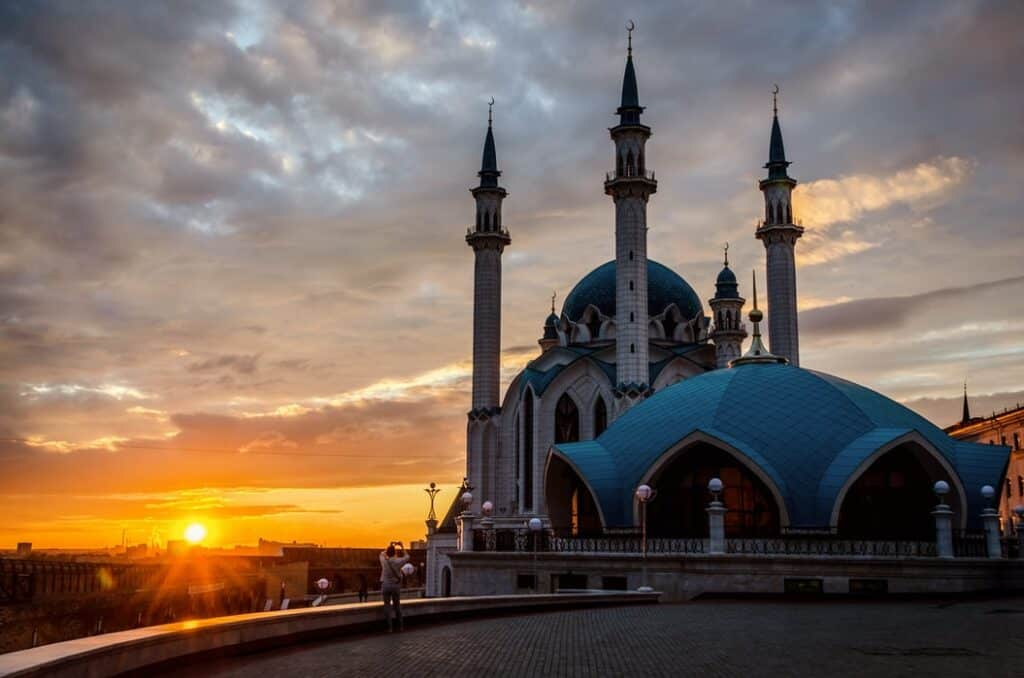 Beautiful building with sunset in Russia
