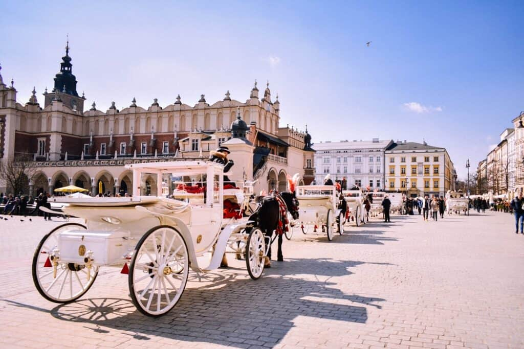 Krakow, Poland with horsedrawn carriages