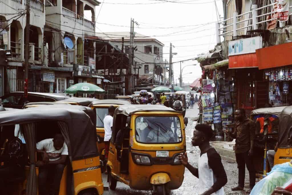 A busy street in Lagos, Nigeria