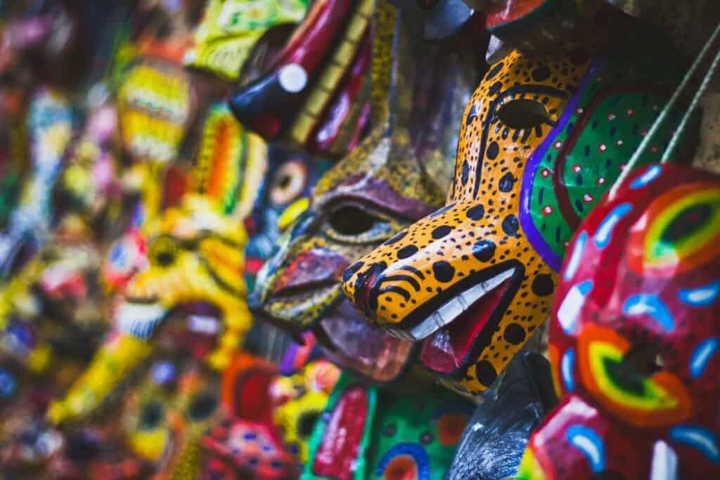 Colorful Guatemalan Masks hung up.