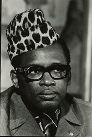 Black and white photo of Mobutu