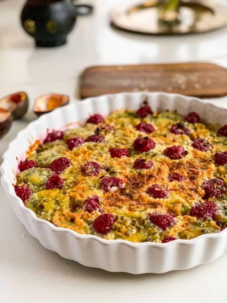 Swedish Food: Passion Fruit Gino in a white pie dish
