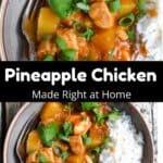 Instant Pot Pineapple Chicken Pinterest Image middle black banner