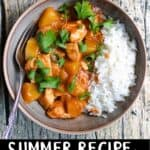 Easy Summer Recipe Pineapple Chicken Pinterest Image bottom black banner