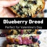 Valentine's Day Blueberry Bread Pinterest Image Pinterest Image middle black banner