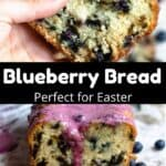 Easter Blueberry Bread Pinterest Image middle black banner