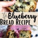 New Blueberry Bread Recipe Pinterest Image middle design banner