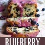 New Blueberry Bread Recipe Pinterest Image bottom design banner