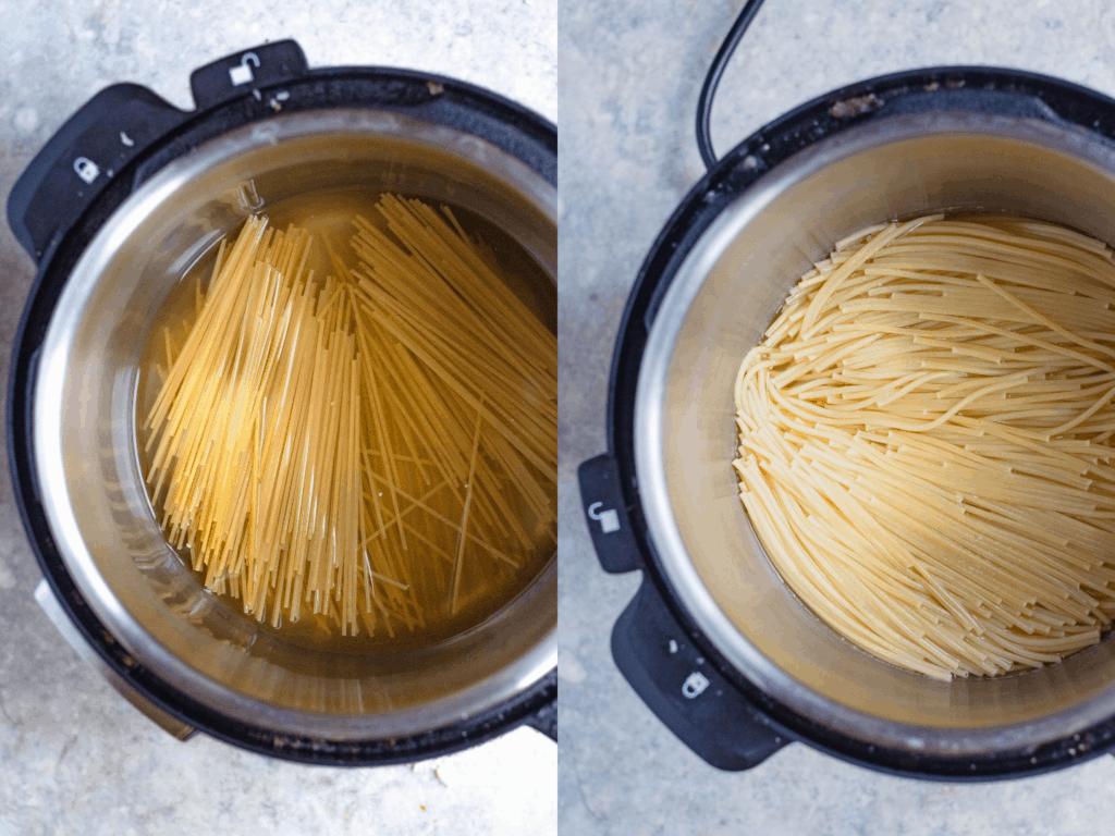 Side by side collage: Uncooked pasta in Instant Pot, then cooked pasta in the Instant Pot
