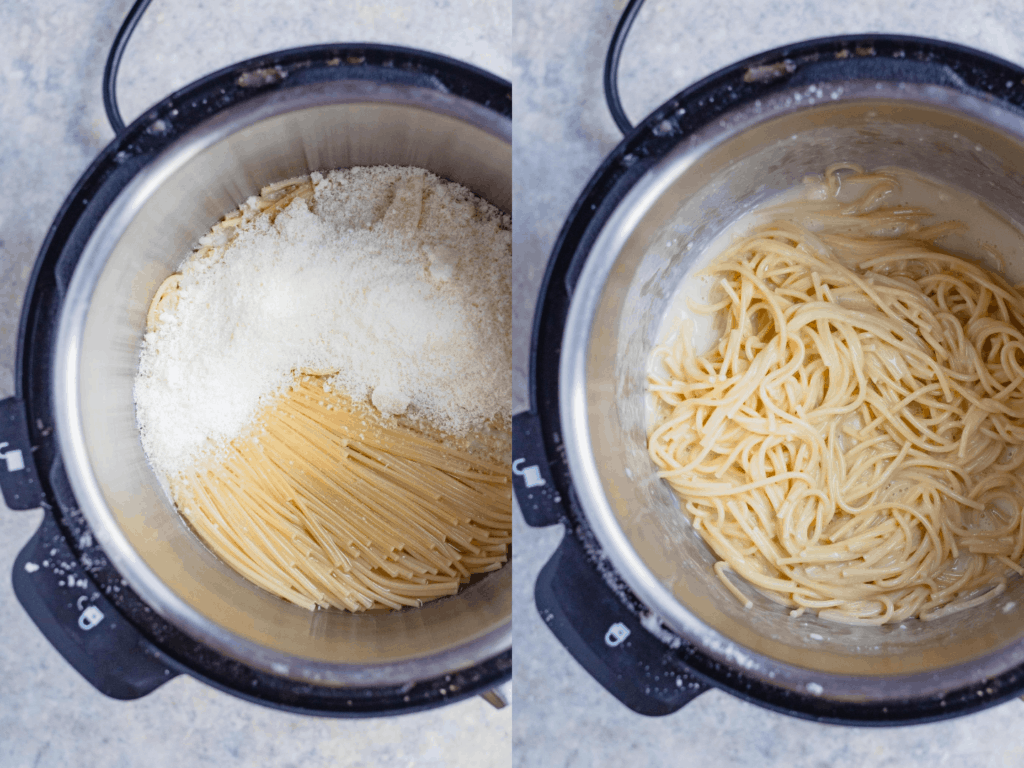 Side by Side collage: Powdered cheese sprinkled on top of noodles, cheese mixed into the noodles