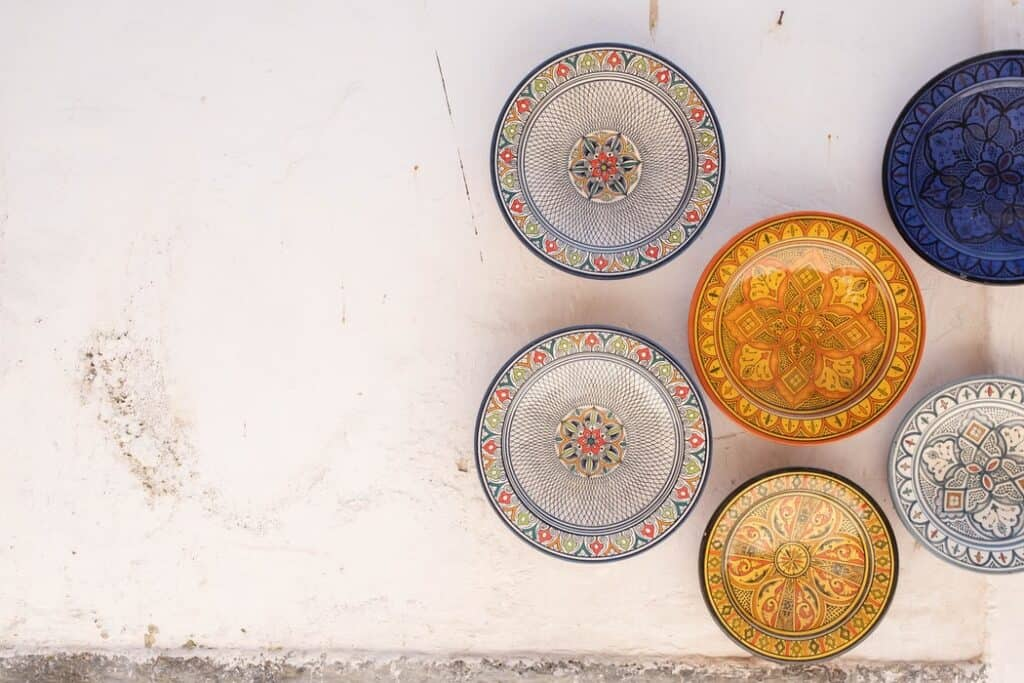 ceramic dishes on a concrete background with beautiful designs