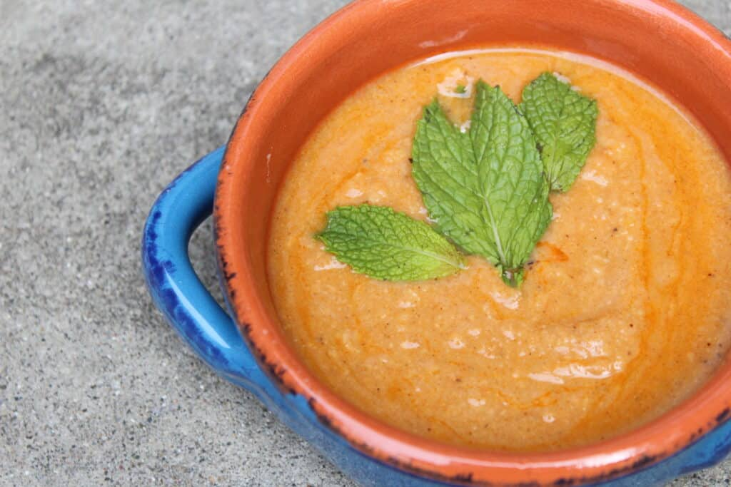 Front view of Algerian Chickpea stew with mint leaf