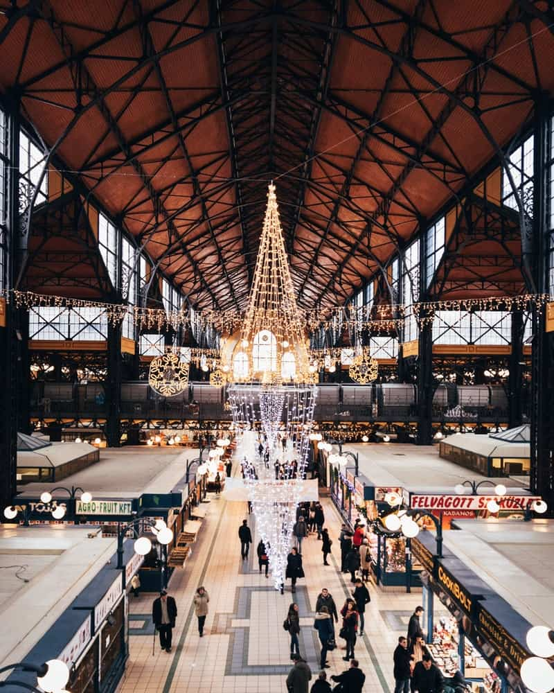 View from ceiling of Budapest food market in Hungary