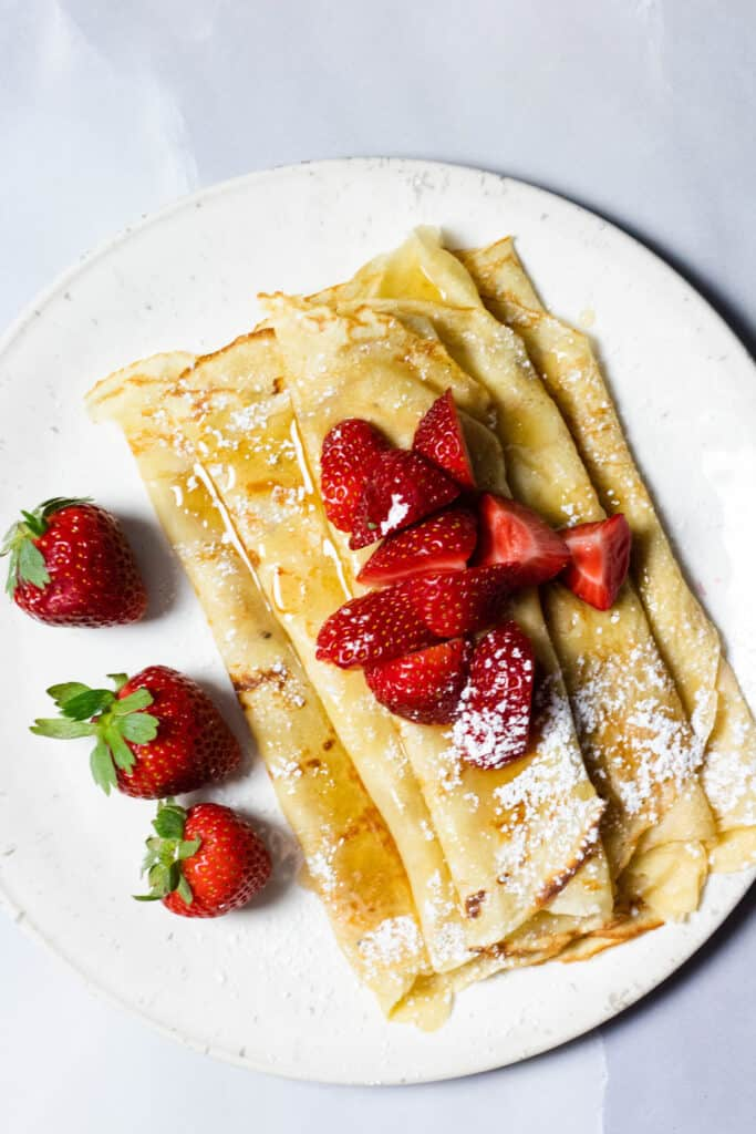 Honey Butter crepes with strawberries