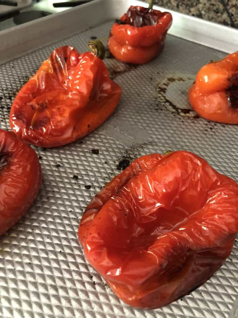 Roasted red peppers on a tray
