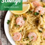Instant Pot Shrimp Scampi Pinterest Image Top Left banner