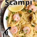 Summertime Shrimp Scampi Pinterest Image top outlined title