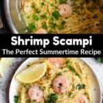 Summertime Shrimp Scampi Pinterest Image middle black banner