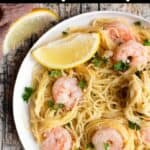 Summertime Shrimp Scampi Pinterest Image top black banner