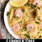Summertime Shrimp Scampi Pinterest Image bottom black banner