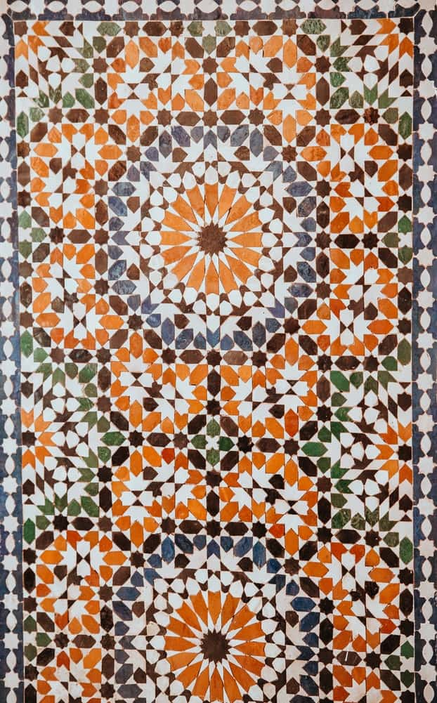 Tiled walls in a floral pattern in Morocco