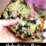 Valentine's Day Blueberry Bread Pinterest Image Pinterest Image bottom black banner