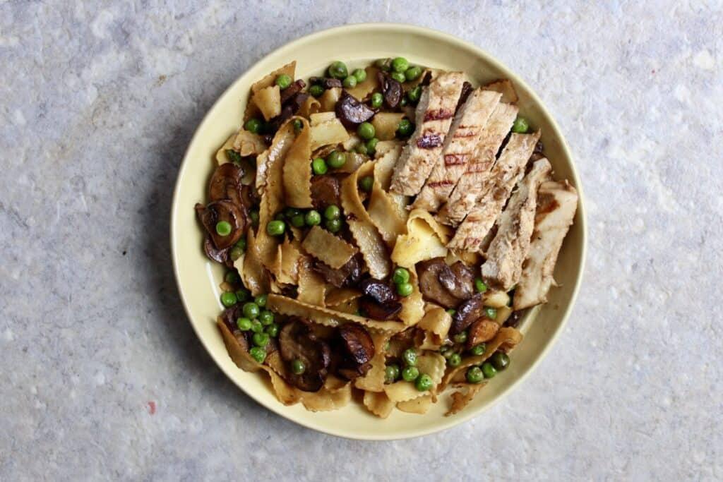 Overhead view of Australian Vegemite pasta with chicken