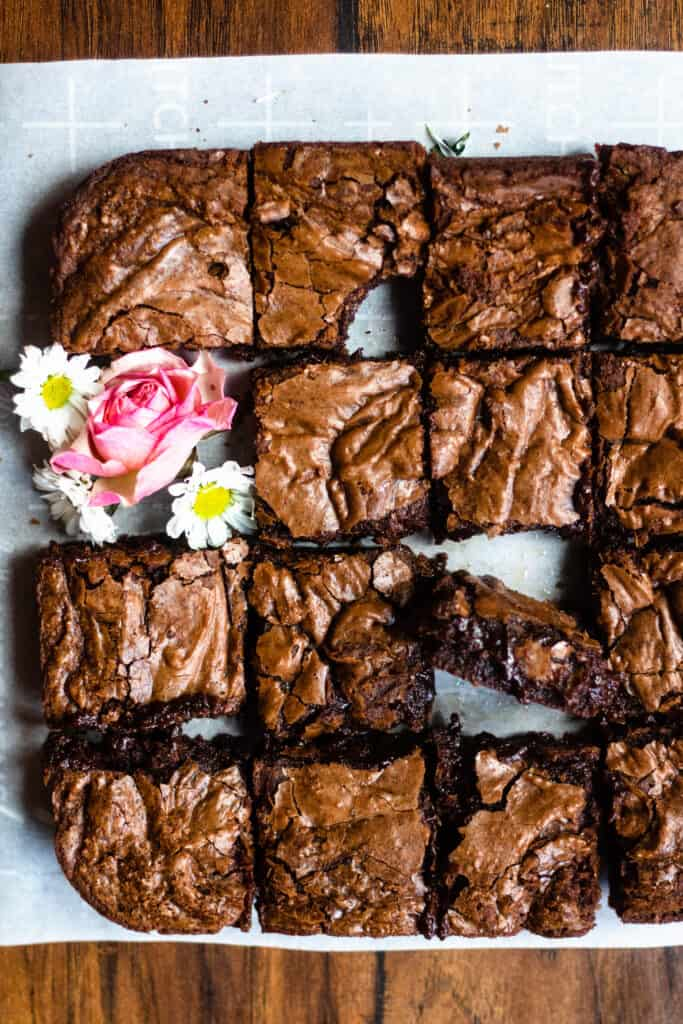Fudgy Brownies in grid format with bites taken