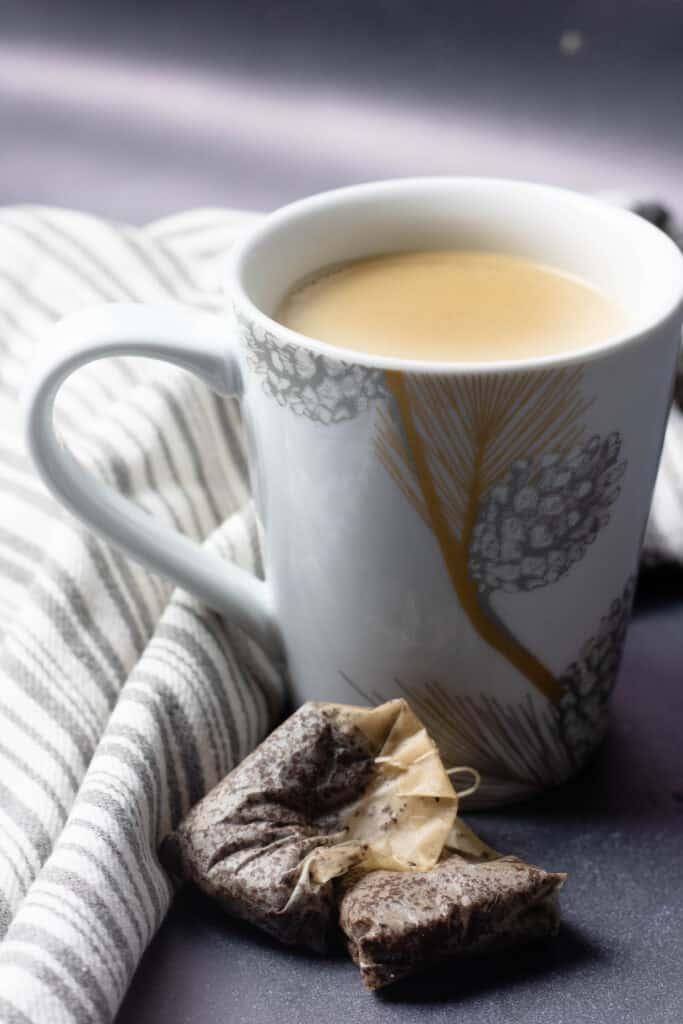 Close up of butter tea from Bhutan