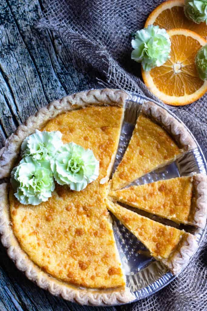Orange Buttermilk Pie with Green flowers