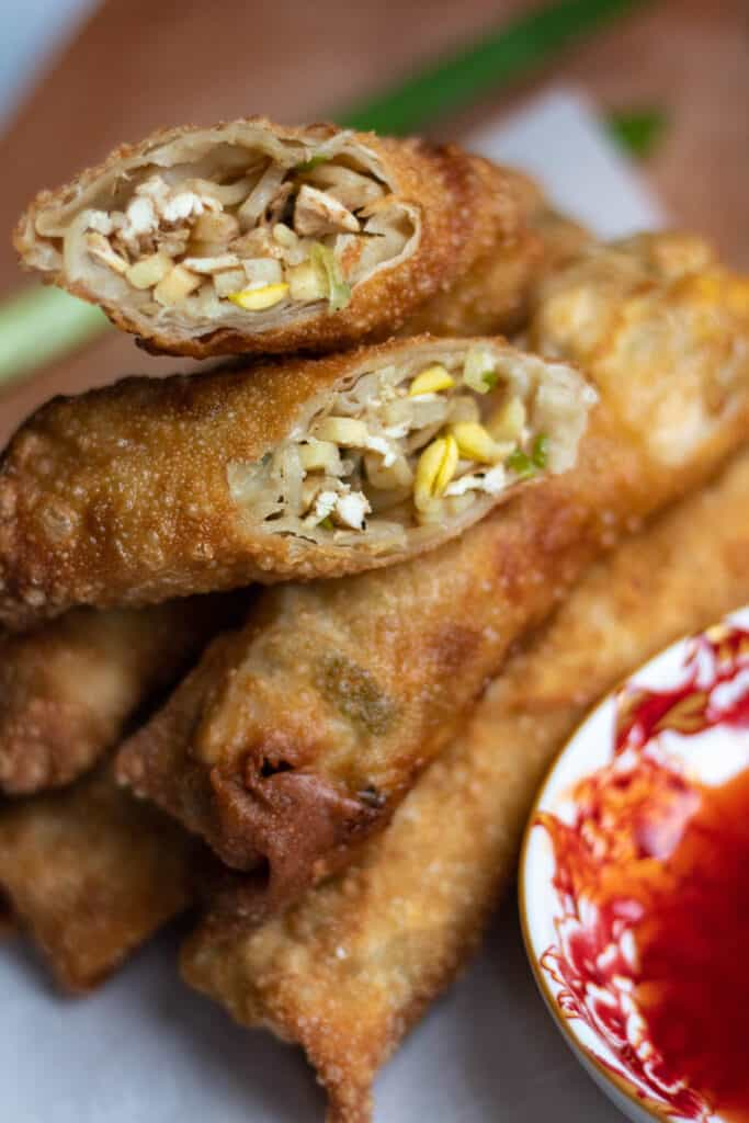 Cross section of egg rolls that shows interior